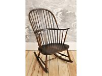 Vintage Retro 60's Ercol Chairmakers Rocker Rocking Chair in Old Colonial Finish