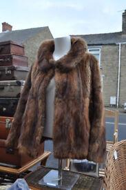 vintage retro ladies fur jacket size 12