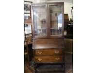 Fantastic vintage Art Deco bureau with leaded glass cupboard in great condition