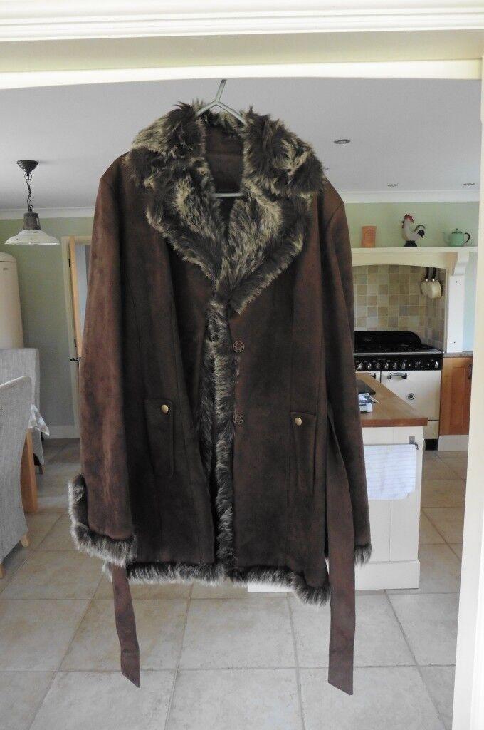 Ladies long brown suede jacket Size 12