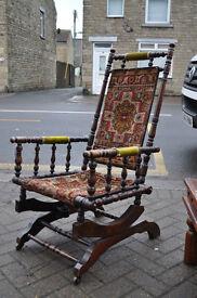 antique edwardian american fruitwood rocking chair
