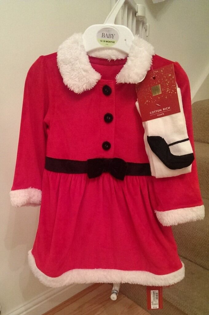 Girl's Christmas dress 12-18 months M&S brand new