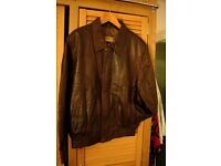 Mens nearly new Italian soft brown leather jacket