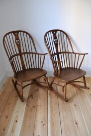 Set of 2 Vintage Retro 60's Ercol Chairmakers Swan Back Rocker Rocking Chairs in Golden Dawn