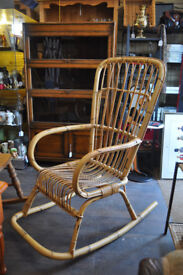retro cane rocker rocking chair