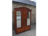 edwardian triple door mahogany wardrobe shabby chic