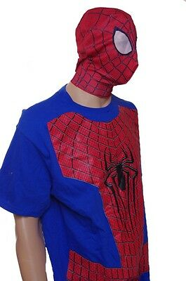 Mens Spiderman Shirt Mask Easy Halloween Costume Size Large Lg Super Hero NEW