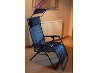 Luxury Valencia Lounger Garden Chair with sun shade hood. (£60 for the Pair) As New.