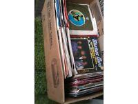 box load job lot vinyl 7 inch singles records various styles rock pop 70s 80s era etc approx 200