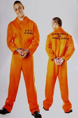 Convict Halloween Costume Mens (Mens PRISONER Convict Jailbird Crook ROBBER Adult Halloween Costume Large)