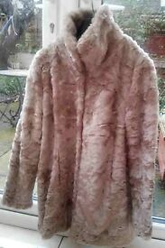LADIES FAUX FUR COAT WALLIS SIZE MEDIUM