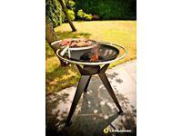 La Hacienda Olivera Fire Pit & BBQ Grill Paito Garden Barbecue Decking 64cm Grill diameter 74cm high