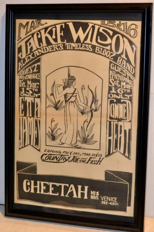 JACKIE WILSON CANNED HEAT ETTA JAMES 1968 FRAMED CONCERT POSTER / AD COUNTRY JOE