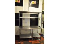 COMMERCIAL HEAVY DUTY STAINLESS STEEL PREP WORK BENCH TABLE WITH DOUBLE GANTRY SHELVES