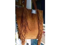 Gorgeous large toffee colour suede leather boho tasseled shoulder bag, brand new, unused with tag.