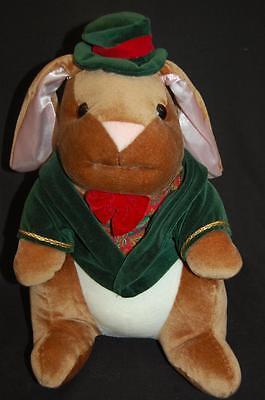 "Velveteen Rabbit Boy Bunny Brown Green Red Vintage 1985 Commonwealth Plush 14"""
