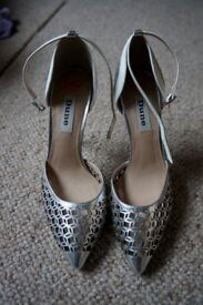 Dune Silver Cut Out Heels - brand new and never worn with labels on, original price £39.99