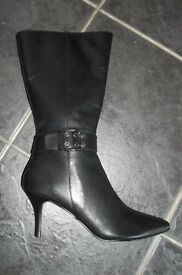 Faith ladies black leather boots, size 7 - brand new!!!