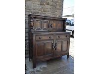 vintage retro ercol blue label solid elm dresser / sideboard / court cupboard
