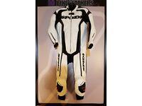 Spidi RR Wind Pro One Piece Motorcycle Leather Race Suit - EU 54 / UK 44 - White - BB Bike Leathers