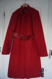 Womens 3/4 length coat with belt (excellent condition)