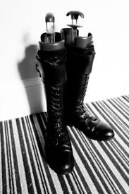 Knee length flat black boots size 5 (late 80's) laces and buckles