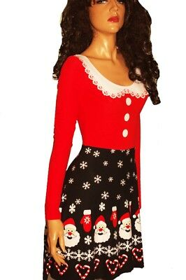 Womens SANTA Mrs Claus LS Dress Cute Ugly Christmas Sweater Party S M L XL NEW - Cute Santa Dresses