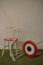 pair of painted lambretta influenced chairs