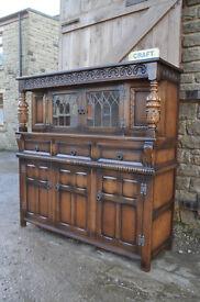 vintage mid century oak court cupboard dresser shabby chic