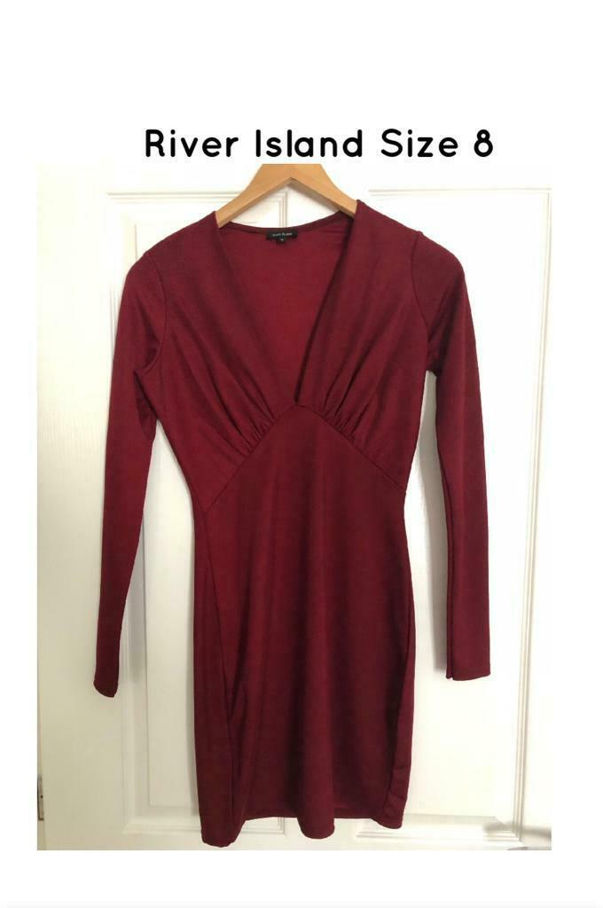 3180d822 ladies river island bodycon burgundy red size 8 dress clothes