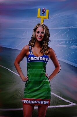 Football Costume For Women (Womens Sexy Halloween Costume Football Field Hot Player Touchdown Med 3 5 7)
