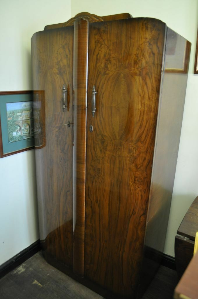 Vintage Art Deco Walnut Shrager Double Door Wardrobe In