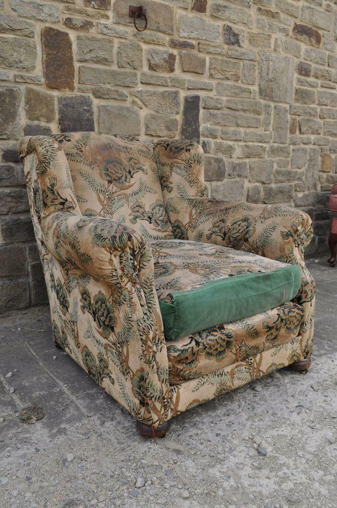 Victorian Horse Hair Stuffed Lounge Armchair Shabby Chic