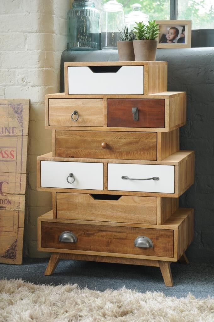 Vintage Eight Drawer Staggered Chest with Neutral TonesNewFree Deliveryin Linton, CambridgeshireGumtree - Price includes free delivery. Find us by searching Rustic Industrial Interiors. The multi coloured warm hues and diverse assortment of handles make this eight drawer chest truly an example of Vintage Cool. The symmetrical design of the layered chests...