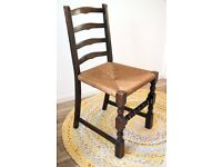 4 vintage wooden dining chairs with wicker seats