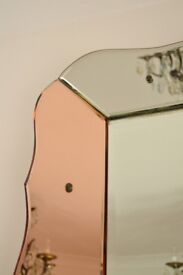 STORAGE CLEARANCE - GORGEOUS LARGE ART DECO SCALLOPED EDGE MIRROR - BEAUTIFUL CONDITION