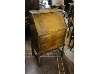 Fantastic vintage bureau made from tiger oak in lovely condition