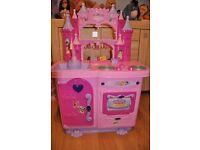 Disney Princess toy kitchen with tea set, cash register, pots, activity toster, cake