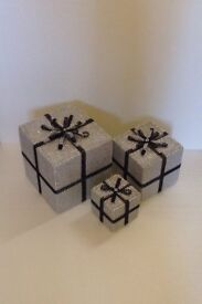 Can Post Christmas Present Decorations - ideal under your tree or next to fireplace Silver Black