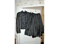 Jensen 2 piece suit, size 12 (Euro 38), Jacket and skirt, Black with Silver stripes, Like new.