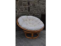 retro style papasan cane chair