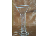5 long stemmed glass vases silver rimmed with silver star decoration