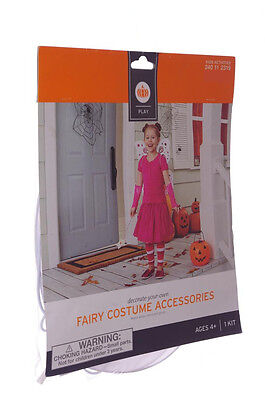Girls Easy Halloween Fairy Costume Kit Pixie Craft White Wings Wand Gloves NEW (Easy Halloween Craft)