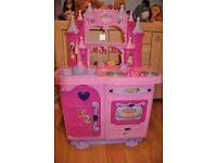 Disney Princess toy kitchen with tea set, cash register, pots, activity toster and cake