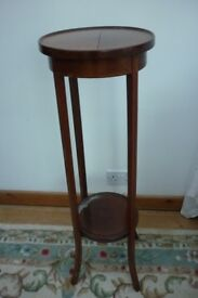 very tall two shelf plant / display table - round
