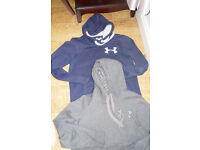 2 UNDER ARMOUR Men's UA Varsity Hoodies Grey and Navy Size S/M