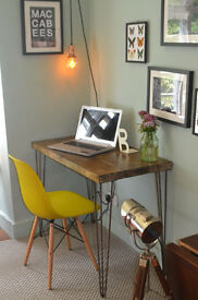Rustic Handmade Industrial Desk & Chair hairpin leg table 100cm x 52cm