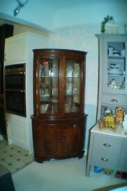 Mahogany Reproduction Double Fronted Corner Display Cabinet