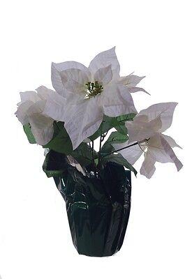 White Poinsettia Christmas Holiday Flower Arrangement Artificial  Decoration -