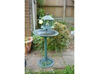 Plastic Ornamental Bird Bath with Feeding Table - Green
